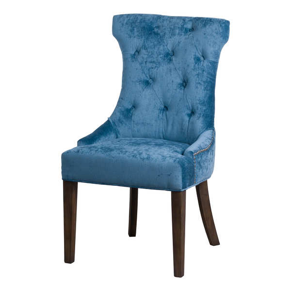 Teal Button Pressed Cocktail Wing Chair