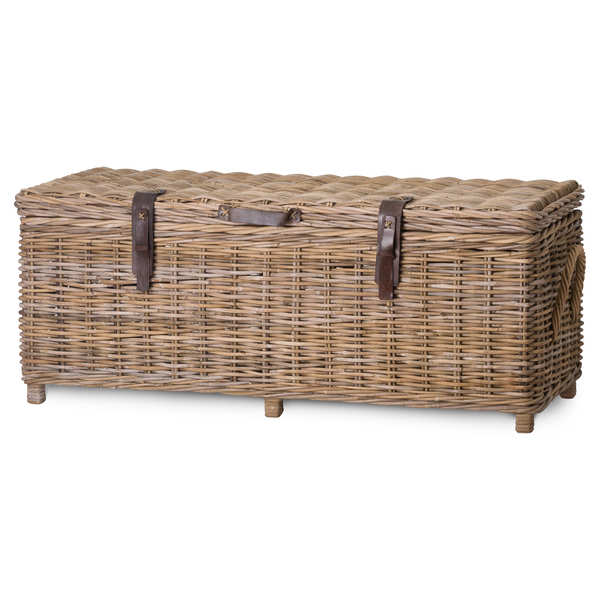 The Bali Collection Full Rattan Trunk With Leather Straps