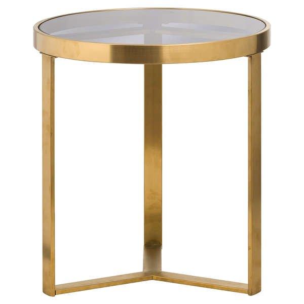 The Edwin Stainles Round Side Table In Brushed Brass