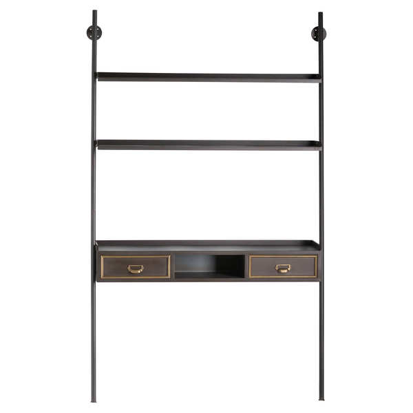 The Hudson Collection Bookshelf Desk With Two Drawers
