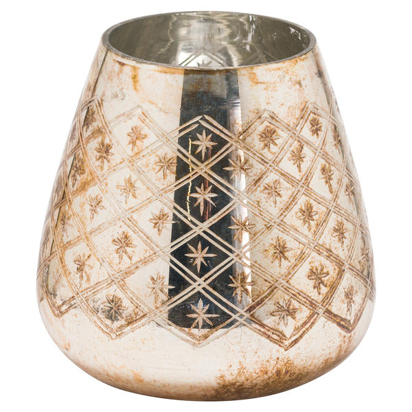 The Noel Collection Burnished Etched Candle Holder Large