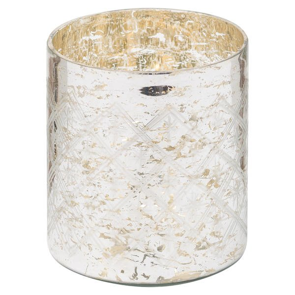 The Noel Collection Silver Foil Effect Pillar Candle Holder