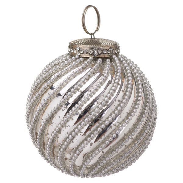 The Noel Collection Silver Jewel Swirl Large Bauble