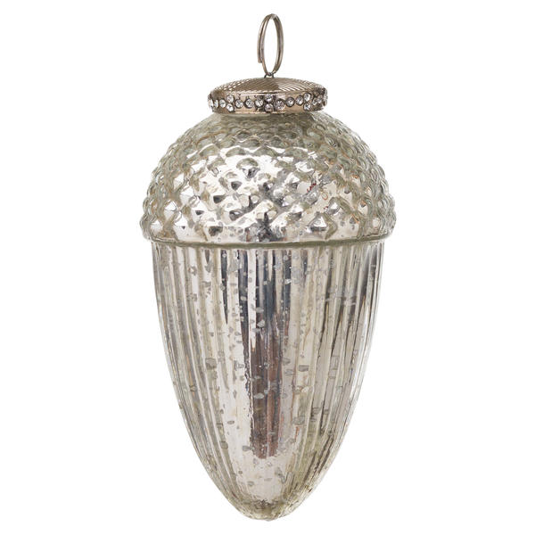 The Noel Collection Silver Large Hanging Acorn Decoration