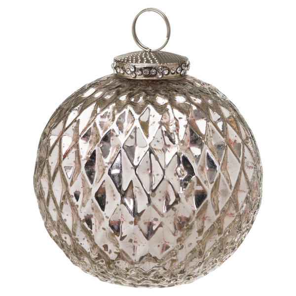 The Noel Collection Silver Large Honeycomb Bauble