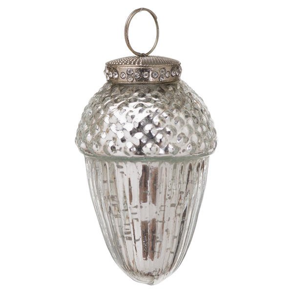 The Noel Collection Small Silver Hanging Acorn Decoration