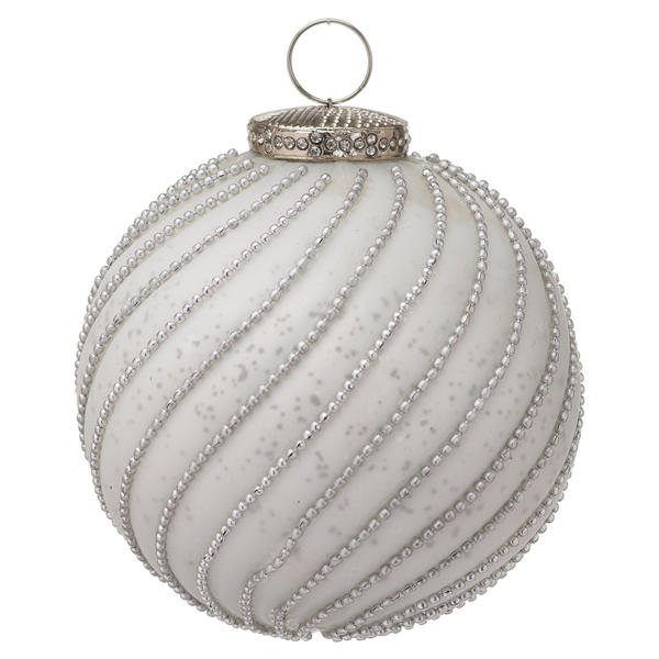The Noel Collection White Jewel Swirl Small Bauble