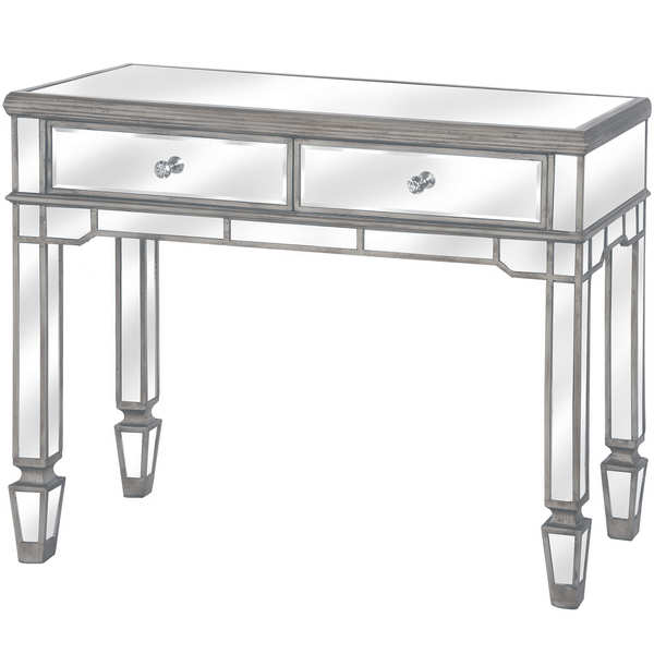 The Silver Belfry Collection 2 Drawer Mirrored Console Table