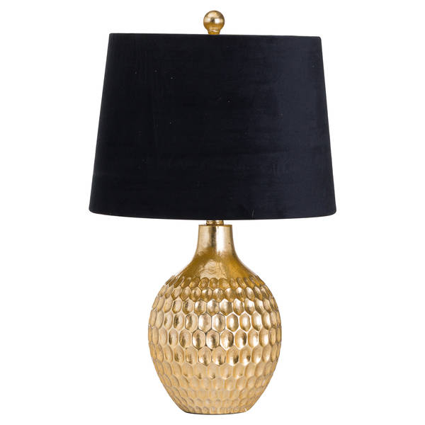 Vincent Gold Base Table Lamp With Black Velvet Shade