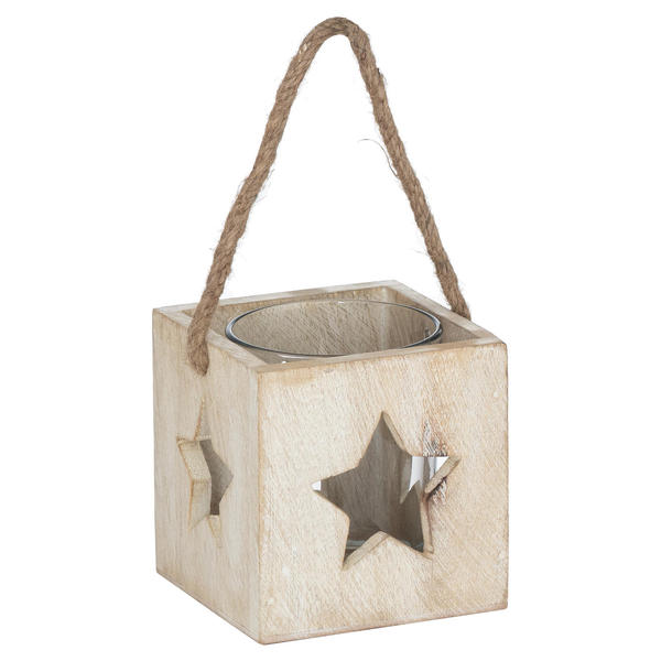 Washed Wood Star Tealight Candle Holder