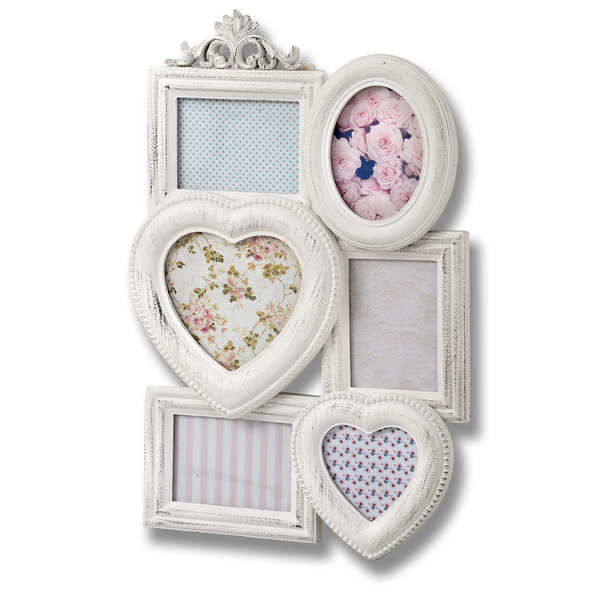 White Distressed Multi-Photo Frame