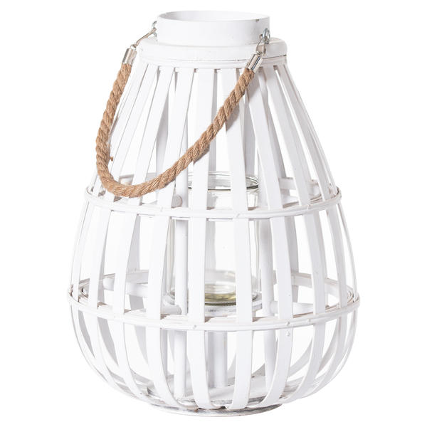 White Domed Wicker Lantern With Rope Detail