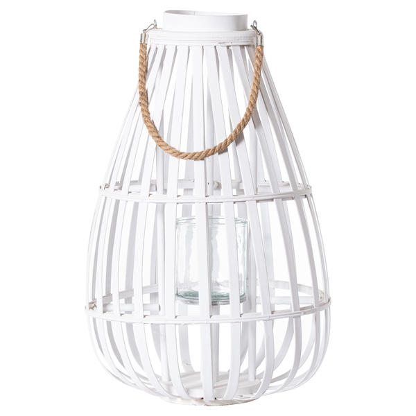 White Floor Standing Domed Wicker Lantern With Rope Detail