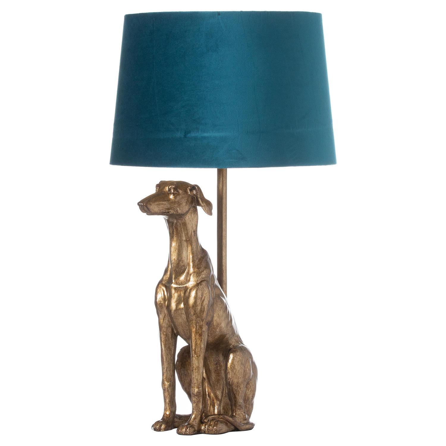 William The Whippet Table Lamp With Teal Velvet Shade