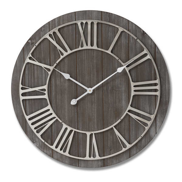 Wooden Clock With Contrasting Nickel Detail