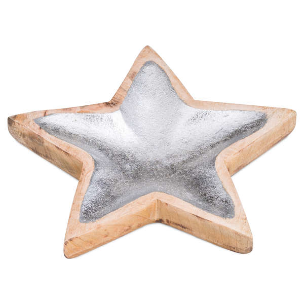 Wooden Star Dish With Metallic Detail