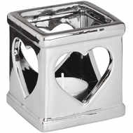 Silver Ceramic Heart Candle Holder