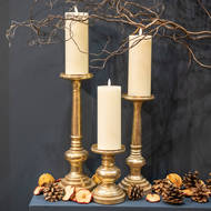 Image 3 - Antique Brass Effect Candle Holder