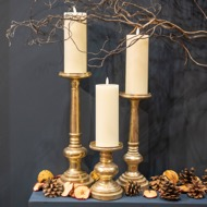Image 4 - Antique Brass Effect Tall Candle Holder