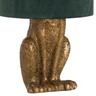 Image 2 - Antique Gold Hare Table Lamp With Green Velvet Shade
