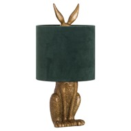 Image 1 - Antique Gold Hare Table Lamp With Green Velvet Shade