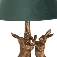 Image 2 - Antique Gold Marching Hares Lamp With Green Velvet Shade