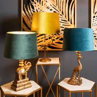 Image 3 - Antique Gold Peacock Lamp With Teal Velvet Shade