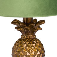 Image 2 - Antique Gold Pineapple Lamp With Artichoke Green VelvetShade