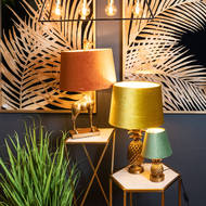 Image 3 - Antique Gold Pineapple Lamp With Mustard Velvet Shade