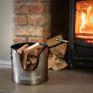 Antique Pewter Kindling Storage