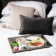 Image 3 - Astor Distressed Large Mirrored Tray With Wooden Detailing