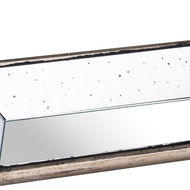 Image 2 - Astor Distressed Mirrored Display Tray With Wooden Detailing