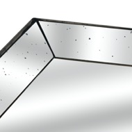 Image 2 - Astor Distressed Mirrored Square Tray W/Wooden Detailing Lge
