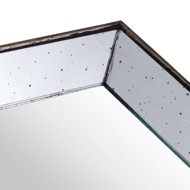 Image 2 - Astor Distressed Mirrored Square Tray W/Wooden Detailing Sml