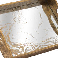 Image 2 - Augustus Mirrored Tray With Marbling Effect