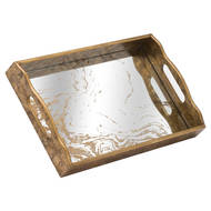 Image 1 - Augustus Mirrored Tray With Marbling Effect