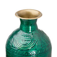 Image 2 - Aztec Collection Brass Embossed Ceramic Dipped Lebes Vase