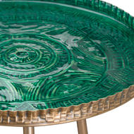 Image 2 - Aztec Collection Brass Embossed ceramic Dipped Side Table