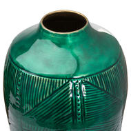 Image 2 - Aztec Collection Brass embossed Ceramic Dipped Urn Vase