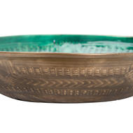 Image 2 - Aztec Collection Brass Embossed Ceramic Large Bowl