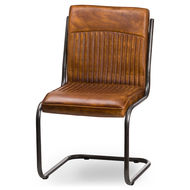 Image 1 - Billy Leather Ribbed Dining Chair