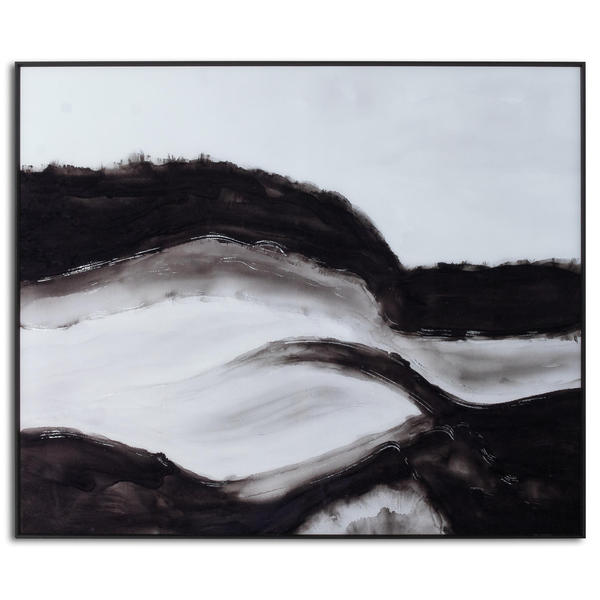 Image 1 - Black and White Rolling Hills Glass Image in Black Frame