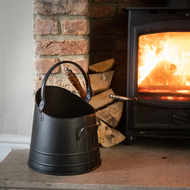 Black Coal Bucket with Teak Handle Shovel