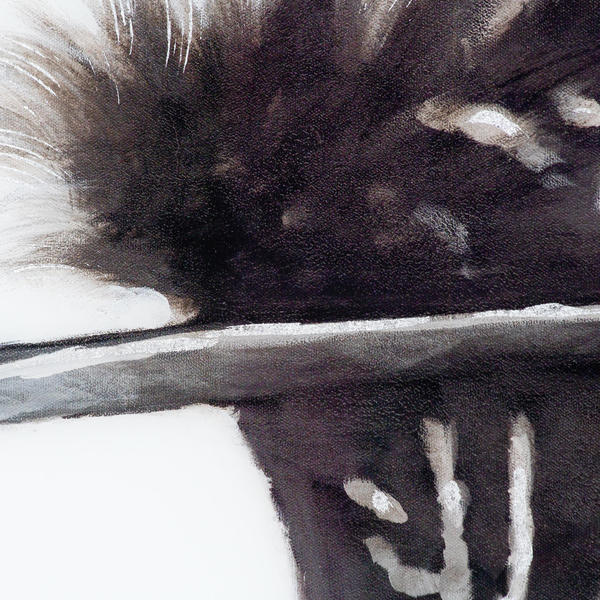 Image 6 - Black Feather With White Spots Over 3 Black Glass Frames