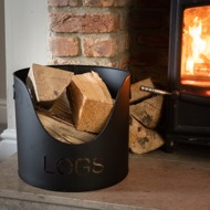 Image 2 - Black Finish Logs And Kindling Buckets & Matchstick Holder