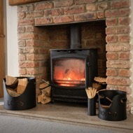 Image 1 - Black Finish Logs And Kindling Buckets & Matchstick Holder