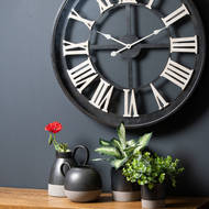 Image 2 - Black Framed Skeleton Wall Clock With White Roman Numerals