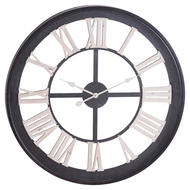 Image 1 - Black Framed Skeleton Wall Clock With White Roman Numerals