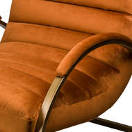 Image 3 - Burnt Orange And Brass Ribbed Ark Chair
