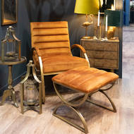 Image 5 - Burnt Orange And Brass Ribbed Ark Chair